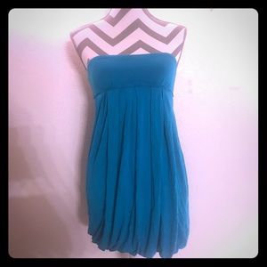 Forever 21 turquoise/teal pleated bubble dress